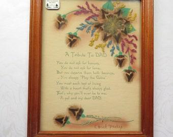 Dakota Prairie Picture Ida Bisek Prokop Father's Day Poem Dad Gift Feather Flower Craft 1940s North Dakota Original Sticker Grass