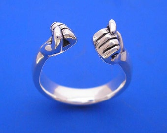 Silver Hand , Fist Bump Ring , Hand Made Solid Silver