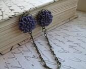Sweater Guard / Sweater Clip: Vintage Inspired Plum Purple Dahlia Flower & Antique Bronze Tone Chain. Cardigan Clip. Blouse Clip.