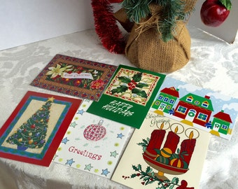Christmas Cards Trees and Holly Berries for Scrapbooking / Paper Craft and Upcycling Supplies