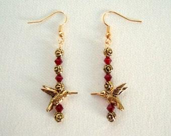 Hummingbird Earrings Red Earrings Swarovski Crystals Feminine Gold Roses Cute Earrings Elegant Christmas Gifts Sweet Gifts for Her