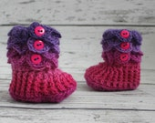 0-6 Month Baby Girl Booties, Valentine's Day Baby Slipper Boots, Crochet Crocodile Rainbow Boots, Ready To Ship