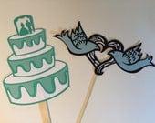 Bridal shower photo props, 2 photo props, Wedding photo props, photo booth props, Love bird photo prop, wedding cake photo prop