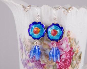 Dangle modern statement earrings with cobalt blue cloisonne flowers, long blue Swarovski crystal clusters, sterling silver earrings