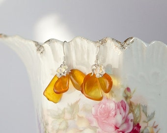 SALE Sterling silver earrings with natural Baltic amber and Swarovski crystals shaped like butterflies, honey and Aurora Borealis, cluster