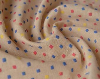 Dots Linen Cotton Fabric Cream MJ469