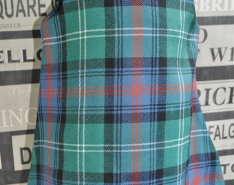 Girls tartan Pinafore Dress, size 6-12m, Sutherland Old Ancient tartan, 100% pure new wool, cream crochet lace trim. Baby Girls Dress.