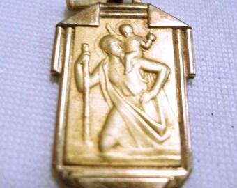 Saint Christophe Medal Pendant Fix gold plated circa 1935 v593
