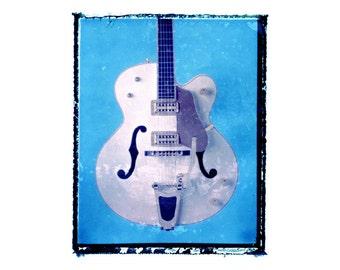 blue guitar art print / music gift / rock n roll art / music room decor / guitar gift / boys room / kids room