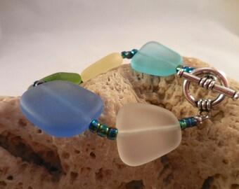 Multi Color Sea Glass Bracelet, Ocean Blue, Light Olive, Soft Gold, Pale Blue and White