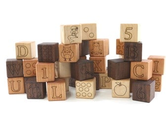 Deluxe ABC and 123 Building Blocks Natural & Organic -Wooden Toy Blocks