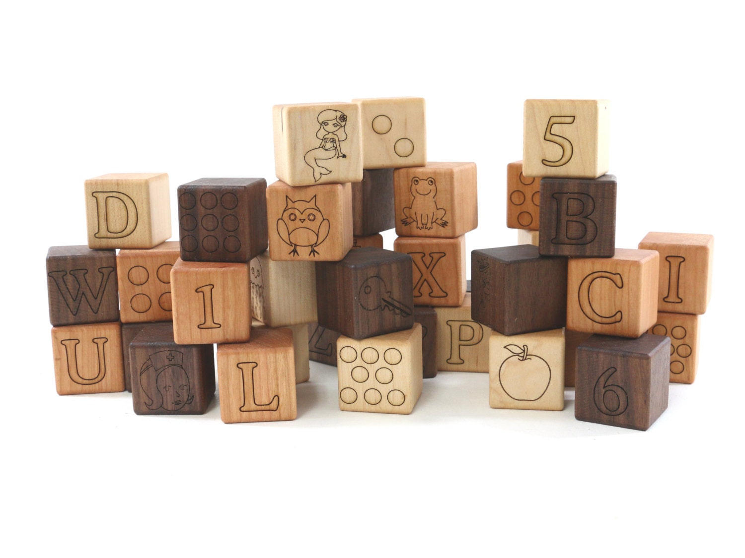 Wood Toy Blocks ~ Deluxe abc wooden blocks toy building