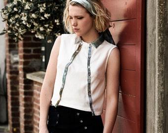 Hand printed sleeveless blouse