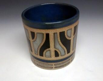 Ceramic Cup - Modern - Handmade Pottery - Blue Stoneware