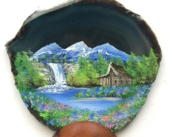 Hand Painted Brazilian Agate Teal Waterfall Mountain Cabin