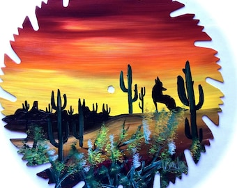 Hand Painted Saw Blade Southwestern Scenery Sunset Coyote