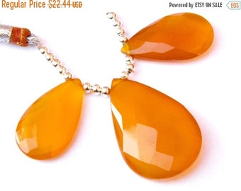 20 off. 3 Pcs set -AAA.Quality Honey Chalcedony Gorgeous Faceted Pear Briolette,Size--26-32mm  Long Approx.