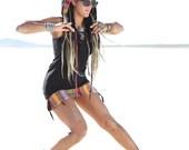 Zzyzx Tribal Hoodie Dress, Black, Festival Dress, Hoodie Dress, Festival Clothing, Hoop, Burning Man, Hippie, Navajo, Shaman