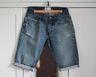 Shorts Vintage Denim Jeans Blue Denim Short W Ragged Wrapped