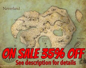 Peter Pan Neverland Map Print