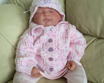 0-3mth Pink/Lilac Fleck Baby First Cardigan and Matching Hat