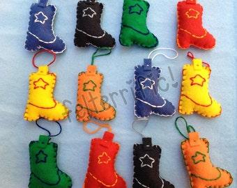 1 Dozen Handmade Felt Mini Cowboy Boot Ornaments