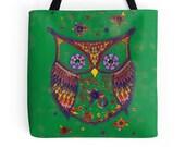 Owl Tote Bag, Funny Tote Bag, Owl Accessories, Woodland Owl Bag, Shopping Bag, Shoulder Bag Large Green Handbag Book Bag Gift for Owl Lovers