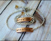 Thelma And Louise Best Friend Hand Stamped Bracelet Set