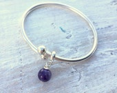Sterling Silver Flexible Bangle Bracelet -- Amethyst gemstone charms - pandora charms
