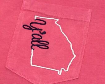 Y'all Shirt - Custom State Shirt - State Tee - State Outline Shirt - State Y'all Shirt - State Comfort Colors Shirt - Short Sleeve Shirt