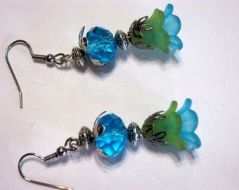 Fairy Flower Green n Blue Earrings