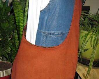 Handmade shoulder, cross shoulder, hobo bag in rust corduroy