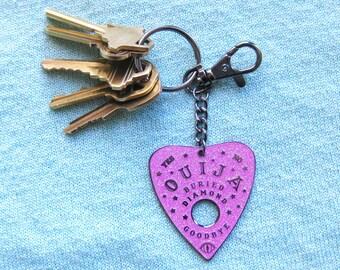 Ouija Planchette Keychain - pink