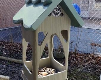 Hanging PVC birdfeeder,unique modern tray feeder,outdoor,fully functional,suet holder, Handmade in USA, ez clean, ez fill, open viewing