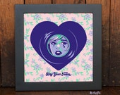 Dry Your Tears - Girl Crying - Heart Shaped Record - Art Print