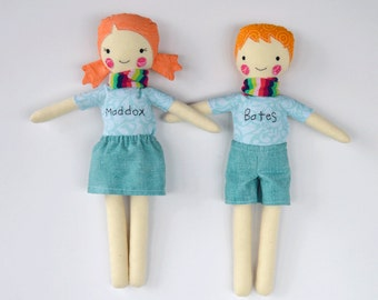 CUSTOM twin dolls, modern rag doll, rosey rag doll