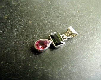 Pendant, tourmaline, sterling silver, silver, jewelry, two stones, red, green