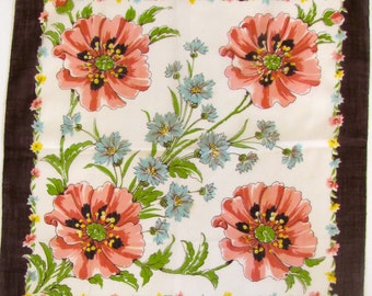 Vintage Linen Handkerchief, Poppies Handkerchief, Pink Black on White, Valentines Gift, Greeting Card Gift, Made in USA