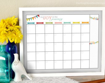Blank Reusable Monthly Calendar-Joy in the Journey