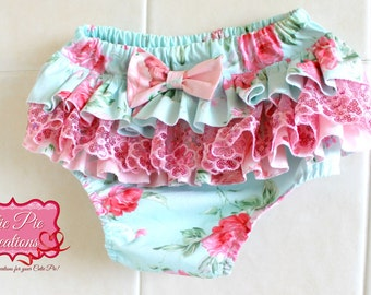 Blue/Pink Ruffled Nappy Cover - ,baby bloomers, nappy cover, baby girl, diaper cover, cake smash, ruffle bum, photo shoot, birthday outfit