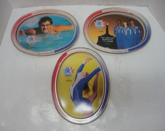Vintage Set of 3 McDonald's Advertising Tin Trays Games of the XXIII Olympiad - Los Angeles 1984 Olympics