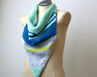 Hand Knit Bandana Scarf - 100% Organic Cotton Scarf - Infinity Cowl - Triangle Scarf - Women Summer Scarf - Oversize Bandana - Playa Wear