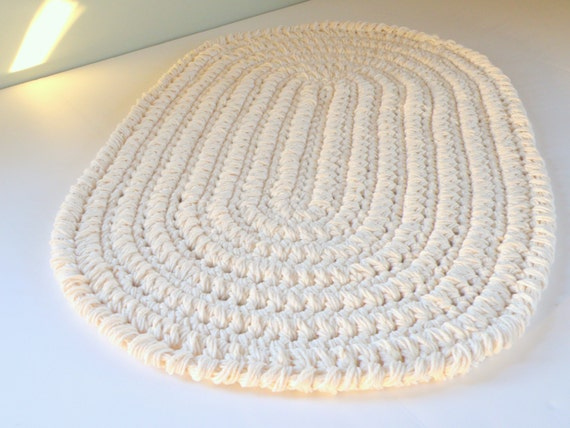Oval Kitchen Rug or Bath Mat Thick Beige/Bone Color