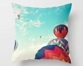 Pillow cover, hot air balloon nursery, nursery decor, mint pillow, aqua pillow, nursery art, spring decor, couch pillow, red pillow