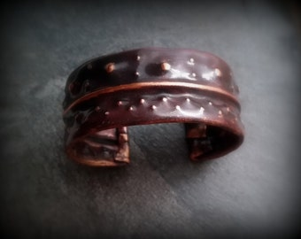 Copper fold formed textured cuff by RECREATE4U