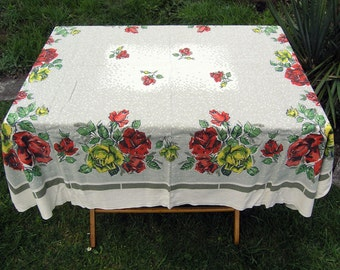 Vintage Tablecloth with Red and Yellow Rose on Green, Large Rectangular Cotton Floral Tablecloth, Retro 1960s 1970s Tablecloth, Table Linens