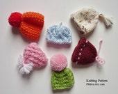 PATTERN only -  Mini Egg Hats - PDF file pattern - Xmas ornaments project