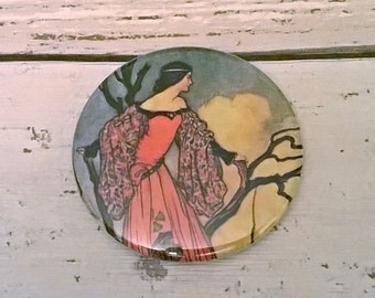 Vintage Pocket Purse Mirror - Fairytale illustration, makeup mirror with woodland princess