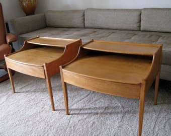 Heywood Wakefield mid century danish modern tables nightstands or end tables two tier vintage modernism stylized matching pair