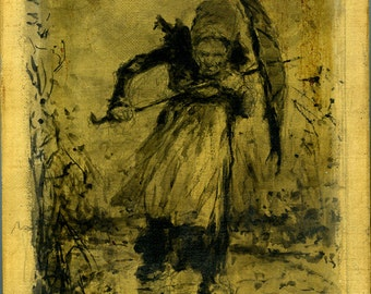 Vintage goya follower  drawing on canvas woman in the rain